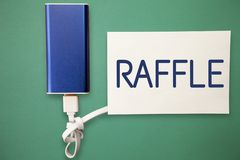Word writing text Raffle. Business concept for means of raising money by selling numbered tickets offer as prize.  vector illustration