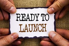 Word, writing, text Ready To Launch. Conceptual photo Prepare New Product Promotion Start Release written on Sticky Note Paper Ho. Word, writing, text Ready To stock image