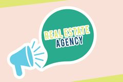 Word writing text Real Estate Agency. Business concept for Business Entity Arrange Sell Rent Lease Manage Properties.  royalty free illustration