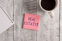Word writing text Real Estate. Business concept for owning property consisting of empty land or buildings Stationary. Word writing text Real Estate. Business stock photo