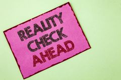 Word writing text Reality Check Ahead. Business concept for Unveil truth knowing actuality avoid being sceptical written on Pink s. Word writing text Reality stock images