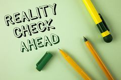 Word writing text Reality Check Ahead. Business concept for Unveil truth knowing actuality avoid being sceptical written on Plain. Word writing text Reality Royalty Free Stock Photos