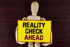 Word writing text Reality Check Ahead. Business concept for Unveil truth knowing actuality avoid being sceptical written on Sticky. Word writing text Reality stock photo
