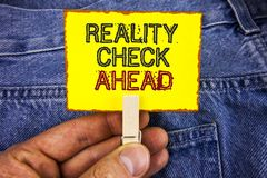 Word writing text Reality Check Ahead. Business concept for Unveil truth knowing actuality avoid being sceptical written on Yellow. Word writing text Reality royalty free stock image