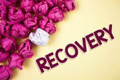 Word writing text Recovery. Business concept for Return to normal state of health Regain possession or control written on Plain ba. Word writing text Recovery royalty free stock images