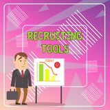 Word writing text Recruiting Tools. Business concept for getting new talents to your company through internet or ads. Word writing text Recruiting Tools stock illustration