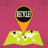 Word writing text Recycle. Business concept for Converting waste into reusable material. Word writing text Recycle. Business concept for Converting waste into stock illustration