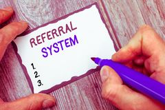 Word writing text Referral System. Business concept for sending own patient to another physician for treatment.  stock images
