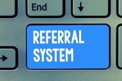 Word writing text Referral System. Business concept for sending own patient to another physician for treatment.  stock photos