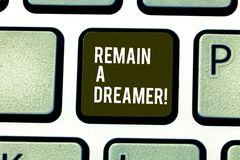 Word writing text Remain A Dreamer. Business concept for they spend lot of time thinking about and planning things. Word writing text Remain A Dreamer. Business stock image