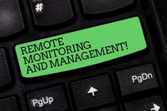 Word writing text Remote Monitoring And Management. Business concept for Long distance monitor data analysisager. Keyboard key Intention to create computer royalty free stock photo