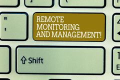 Word writing text Remote Monitoring And Management. Business concept for Long distance monitor data analysisager royalty free stock photos