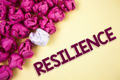 Word writing text Resilience. Business concept for Capacity to recover quickly from difficulties Persistence written on Plain back. Word writing text Resilience Royalty Free Stock Images