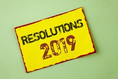 Word writing text Resolutions 2019. Business concept for Positive reinforcement personal improvent corporate goals written on Yell. Word writing text Resolutions Royalty Free Stock Photo