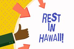 Word writing text Rest In Hawaii. Business concept for Have a relaxing time enjoying beautiful beaches and summer. Word writing text Rest In Hawaii. Business stock illustration