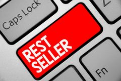Word writing text Rest Seller. Business concept for one feature or the perceived benefit good which makes it unique Keyboard red k. Ey Intention create computer stock photography