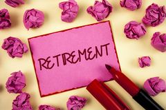 Word writing text Retirement. Business concept for Leaving Job Stop Ceasing to Work after reaching some age written on Pink Sticky. Word writing text Retirement Stock Image