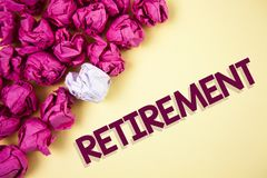 Word writing text Retirement. Business concept for Leaving Job Stop Ceasing to Work after reaching some age written on Plain backg. Word writing text Retirement Stock Images