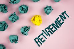 Word writing text Retirement. Business concept for Leaving Job Stop Ceasing to Work after reaching some age written on plain Pink. Word writing text Retirement Stock Image