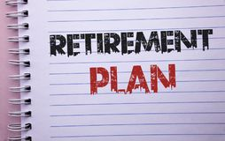 Word writing text Retirement Plan. Business concept for Savings Investments that provide incomes for retired workers written on No. Word writing text Retirement Stock Photography