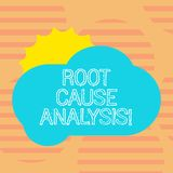 Word writing text Root Cause Analysis. Business concept for method of problem solving used for identifying causes Sun stock illustration