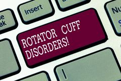 Word writing text Rotator Cuff Disorders. Business concept for tissues in the shoulder get irritated or damaged Keyboard. Key Intention to create computer stock photos