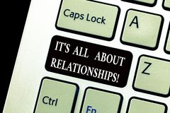 Word writing text It S Is All About Relationships. Business concept for Corporate team work Roanalysistic relationship. Keyboard key Intention to create royalty free stock images