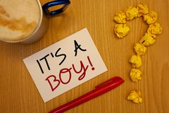 Word writing text It S A Boy Motivational Call. Business concept for Male baby is coming Gender reveal CelebrationIdeas on paper r. Words writing texts It S A Royalty Free Stock Image