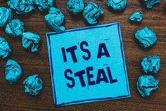 Word writing text It s is A Steal. Business concept for Getting confidential informations Cyber breaching Hacking Blue paper note royalty free stock image