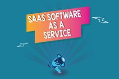 Word writing text Saas Software As A Service. Business concept for the use of cloud based App over the Internet.  stock illustration