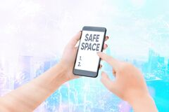 Free Word Writing Text Safe Space. Business Concept For A Place Or Room In Which You Are Protected From Harm Or Danger. Stock Photos - 179074003