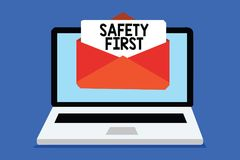 Word writing text Safety First. Business concept for Avoid any unnecessary risk Live Safely Be Careful Pay attention Computer rece. Iving email important message vector illustration