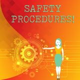 Word writing text Safety Procedures. Business concept for Follow rules and regulations for workplace security Woman. Word writing text Safety Procedures vector illustration