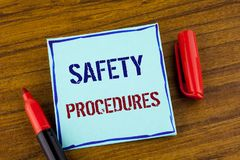 Word writing text Safety Procedures. Business concept for Follow rules and regulations for workplace security written on Sticky no. Word writing text Safety Royalty Free Stock Photography