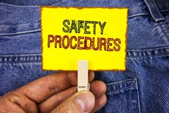 Word writing text Safety Procedures. Business concept for Follow rules and regulations for workplace security written on Yellow St. Word writing text Safety Stock Photography