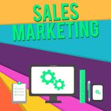 Word writing text Sales Marketing. Business concept for introducing product or service in order to get bought Business. Word writing text Sales Marketing royalty free illustration