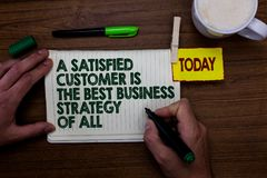 Word writing text A Satisfied Customer Is The Best Business Strategy Of All. Business concept for Good Service Man holding marker. Notebook clothespin reminder royalty free stock photos
