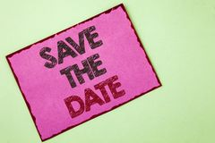 Word writing text Save The Date. Business concept for Organizing events well make day special by event organizers written on Pink. Word writing text Save The Royalty Free Stock Image