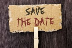 Word writing text Save The Date. Business concept for Remember not to schedule anything else that time Appointment written on Card Royalty Free Stock Images