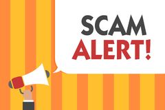 Word writing text Scam Alert. Business concept for warning someone about scheme or fraud notice any unusual Man holding megaphone