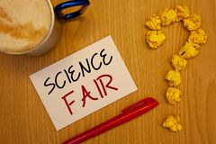 Word writing text Science Fair. Business concept for School competition where contestants present projectsIdeas on paper red pen c royalty free stock images