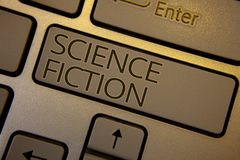 Word writing text Science Fiction. Business concept for Fantasy Entertainment Genre Futuristic Fantastic Adventures Keyboard brown royalty free stock photos