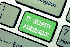 Word writing text It Security Assessment. Business concept for ensure that necessary security controls are in place. Keyboard key Intention to create computer stock image