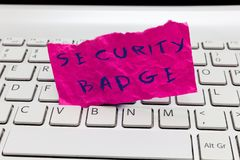 Word writing text Security Badge. Business concept for Credential used to gain accessed on the controlled area stock image