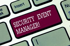 Word writing text Security Event Manager. Business concept for tools used to analysisage multiple security applications. Keyboard key Intention to create royalty free stock photo