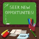Word writing text Seek New Opportunities. Business concept for looking for a new job or another business venture Mounted. Blank Color Blackboard with Chalk and royalty free illustration