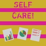 Word writing text Self Care. Business concept for practice of taking action preserve or improve ones own health stock illustration