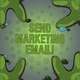 Word writing text Send Marketing Email. Business concept for targeting of consumers through electronic mail Starfish. Photo on Four Corners with Colorful royalty free illustration