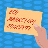 Word writing text Seo Marketing Concept. Business concept for Strategy that implement to satisfy customers need Drawn Hu stock illustration