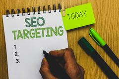 Word writing text Seo Targeting. Business concept for Specific Keywords for Location Landing Page Top Domain Man holding marker no. Tebook clothespin reminder royalty free stock photography